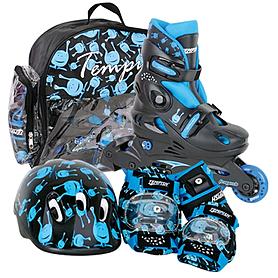 Коньки роликовые раздвижные Tempish UFO Baby Skate чёрный с голубым рисунком