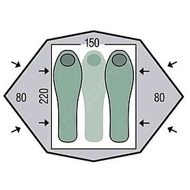 Фото 2 к товару Палатка двухместная Pinguin Gemini 150 Extreme зеленая