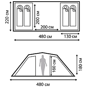 Фото 4 к товару Палатка четырехместная Nordway Twin Sky 4 Basic