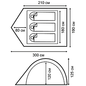 Фото 2 к товару Палатка трехместная Nordway Dome 3