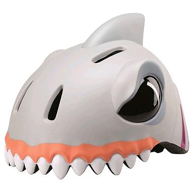 Шлем анимированный Crazy Safety 3D Белая Акула с фонариком