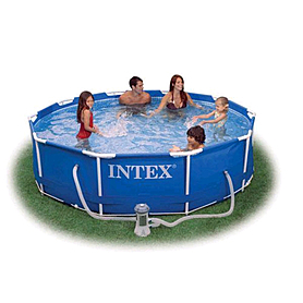 Фото 1 к товару Бассейн каркасный Intex 54424 (366х99 см) с фильтрующим насосом и лестницей