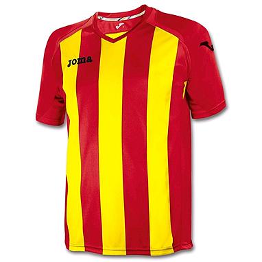 Футболка футбольная Joma Pisa 12 красно-желтая