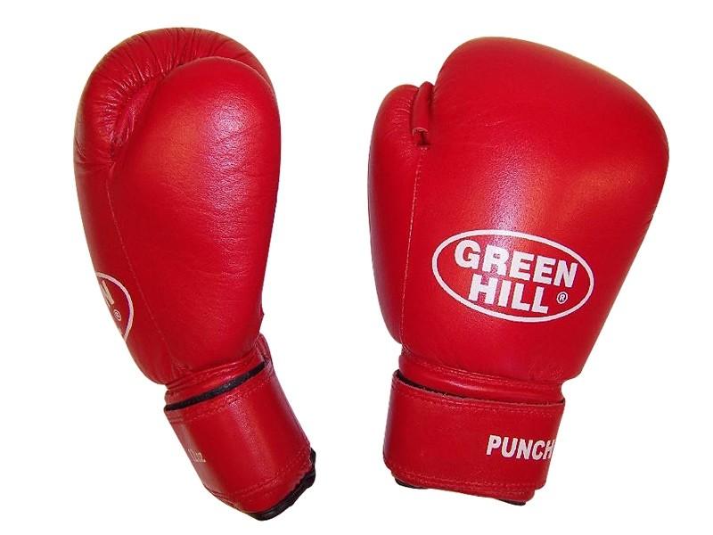 Перчатки боксерские кожаные Green Hill Punch2 красные - фото 1