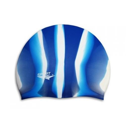 Шапочка для плавания Spurt Zebra силиконовая синяя с белым