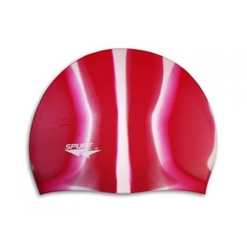 Шапочка для плавания Spurt Zebra силиконовая красная с белым - фото 1