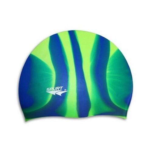 Шапочка для плавания Spurt Zebra силиконовая зеленая с синим