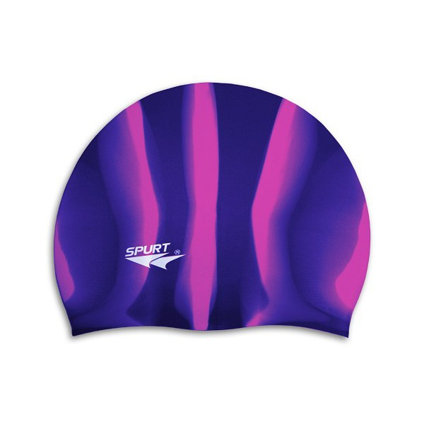 Фото 1 к товару Шапочка для плавания Spurt Zebra силиконовая фиолетовая с синим