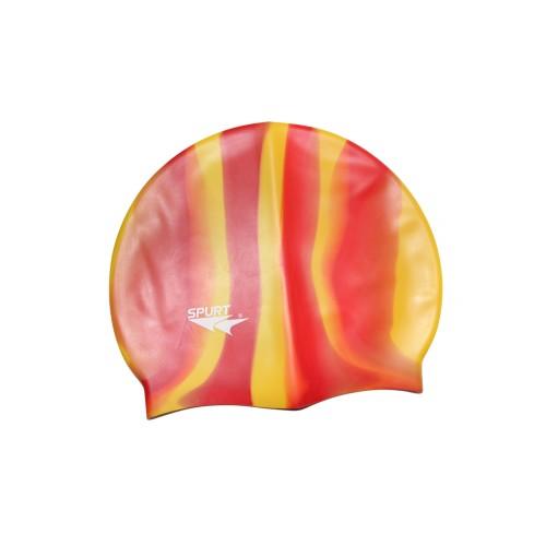Шапочка для плавания Spurt Zebra силиконовая оранжевая с желтым