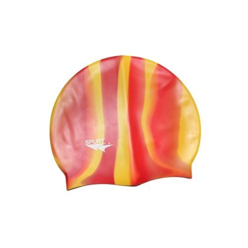 Шапочка для плавания Spurt Zebra силиконовая оранжевая с желтым - фото 1