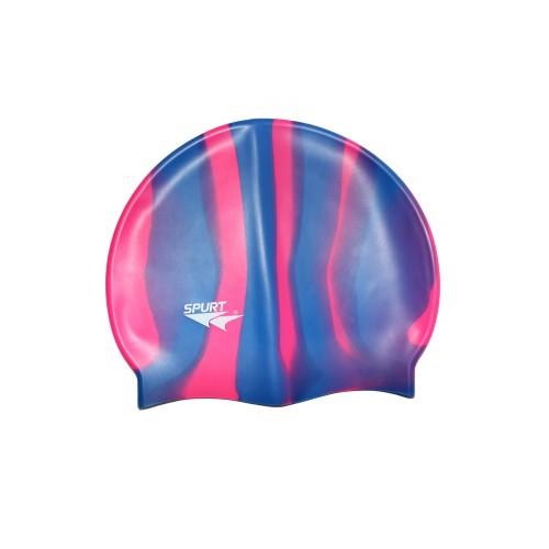 Шапочка для плавания Spurt Zebra силиконовая синяя с фиолетовым