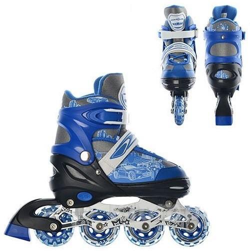 Коньки роликовые детские раздвижные Profi 5033 синие - фото 1