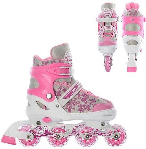 Коньки роликовые детские раздвижные Profi 5033 розовые