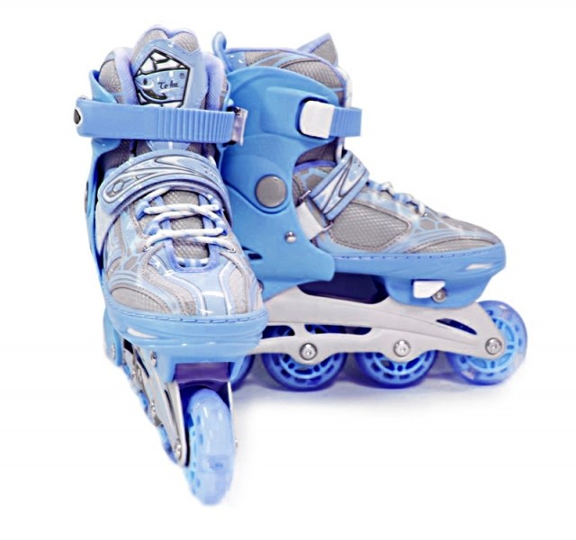 Коньки роликовые раздвижные Teku Skate TK-S6-001 синие - фото 1