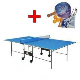 Стол теннисный складной для помещений Gk-2 синий + подарок