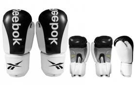 Перчатки боксерские кожаные Reebok черные - 12 Oz