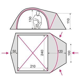 Фото 2 к товару Палатка четырехместная Terra Incognita Zeta 4 песочная