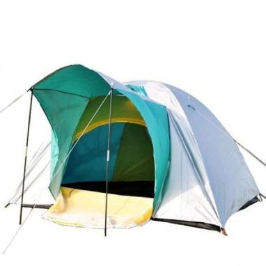 Палатка трехместная Mountain Outdoor (ZLT) 200х200х135 см двухслойная серебристая с зеленым