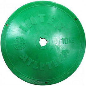 Фото 1 к товару Диск пластиковый 10 кг Inter Atletika цветной - 26 мм