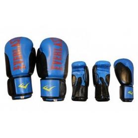 Перчатки боксерские Everlast BO-6161-B кожаные синие с черным - 12 oz