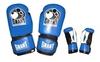Перчатки боксерские Grant MA-1811-B кожаные черные с синим - фото 1