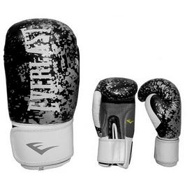 Перчатки боксерские Everlast BO-4227-BK кожаные черные с белым - 12 oz