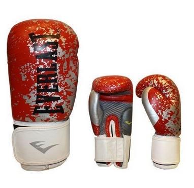 Перчатки боксерские Everlast BO-4227-R кожаные красные с белым