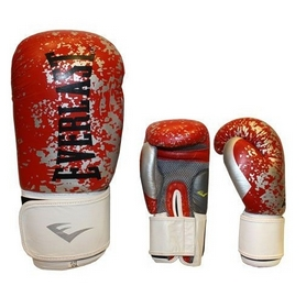 Перчатки боксерские Everlast BO-4227-R кожаные красные с белым - 12 oz