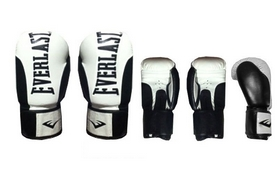 Фото 2 к товару Перчатки боксерские Everlast BO-6161-BK кожаные черные с белым