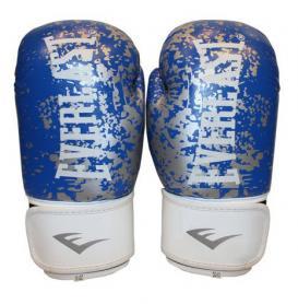 Перчатки боксерские Everlast BO-4227-B кожаные синие с белым - 10 oz