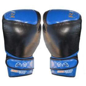Фото 1 к товару Перчатки боксерские Rival RIV-6001-B кожаные черные с синим