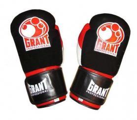 Фото 1 к товару Перчатки боксерские Grant MA-1811-R кожаные черные с красным