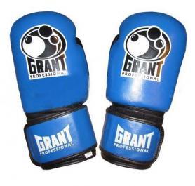 Перчатки боксерские Grant MA-1811-B кожаные черные с синим - 10 oz