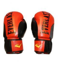 Фото 1 к товару Перчатки боксерские Everlast BO-6161-R кожаные красные с черным