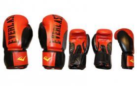 Фото 2 к товару Перчатки боксерские Everlast BO-6161-R кожаные красные с черным