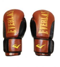 Перчатки боксерские Everlast BO-6161-BR кожаные коричневые с черным