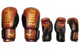 Фото 2 к товару Перчатки боксерские Everlast BO-6161-BR кожаные коричневые с черным