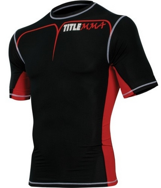 Футболка компрессионная Title MMA Short Sleeve Quad-Flex Adversary красная