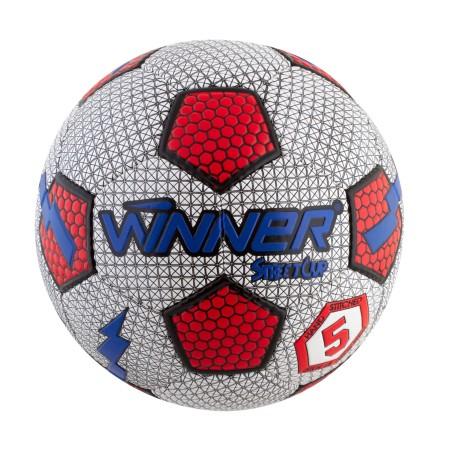 Мяч футбольный Winner Street Cup серый с красным