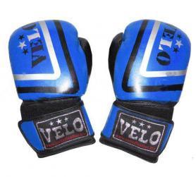 Фото 1 к товару Перчатки боксерские Velo ULI-3043-R кожаные синие