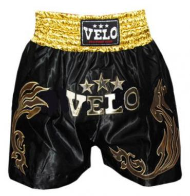Трусы для тайского бокса VELO ULI-9200-BK черные с золотым