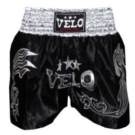 Трусы для тайского бокса VELO ULI-9200-BK черные с серебряным