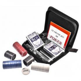 Фото 2 к товару Набор для игры в покер в тканевом кейсе Duke (200 фишек и 2 колоды карт)