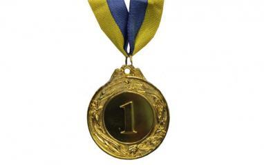 Медаль спортивная 1 место (золото) 3639-1, 45 мм