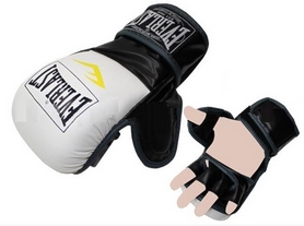 Перчатки для смешанных единоборств MMA Everlast BO-4612-WBK бело-черные - L