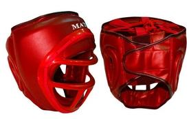 Шлем для единоборств с пластиковой маской Matsa ME-0133-PVC красный