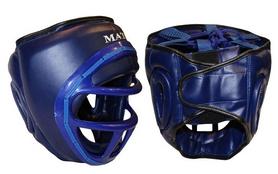 Шлем для единоборств с пластиковой маской Matsa ME-0133-PVC синий