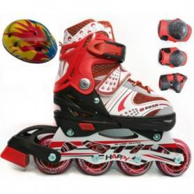 Фото 1 к товару Коньки роликовые раздвижные + защита Scooter Combo G-180 красные