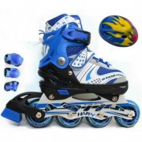 Коньки роликовые раздвижные + защита Scooter Combo G-180 синие