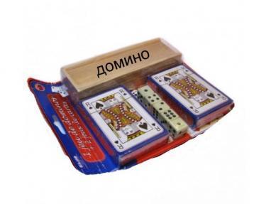 Набор игр 3 в 1 - карты, кости, домино